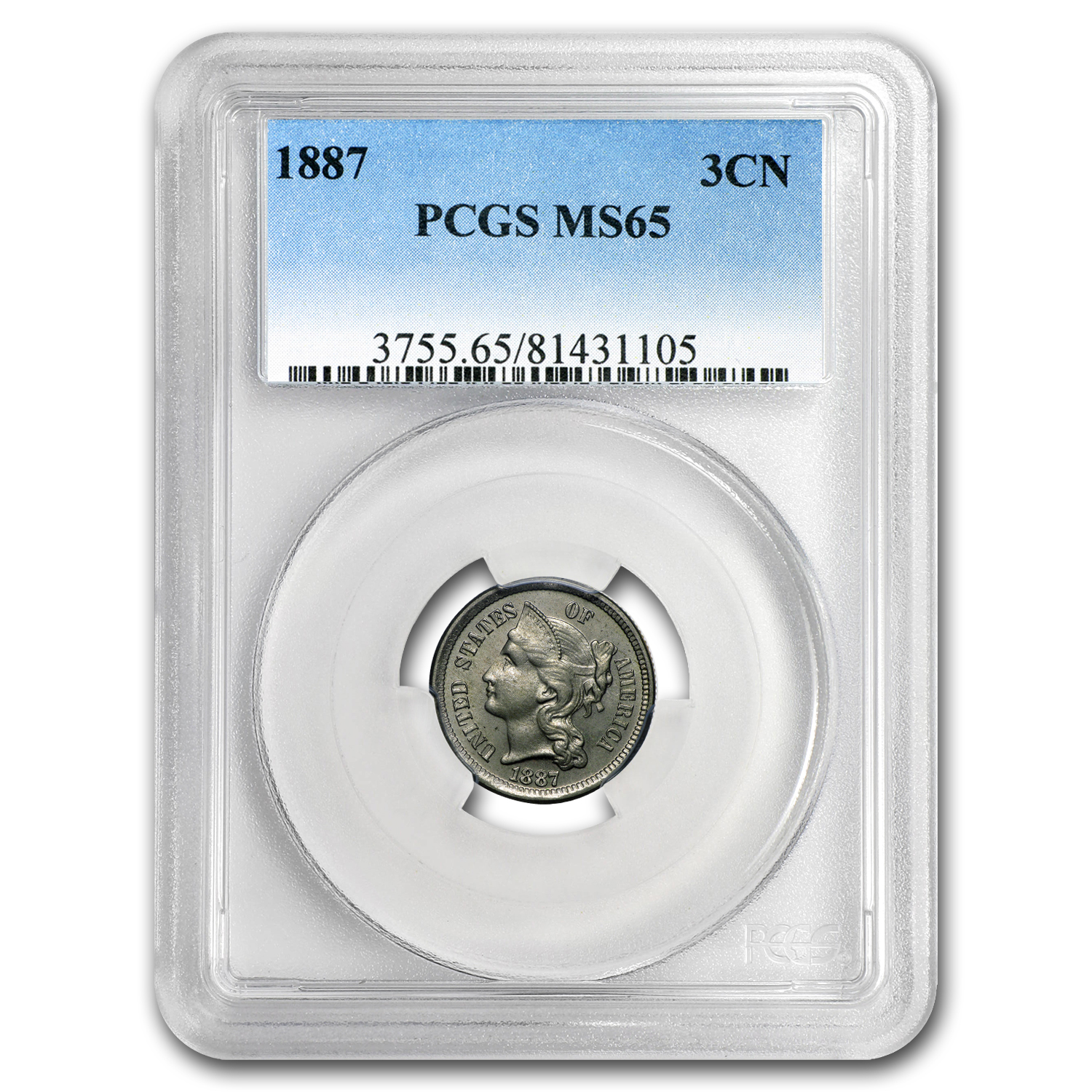 1887 Three Cent Nickel MS-65 PCGS